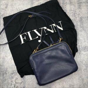 Flynn Navy Leather Banjo Triple Zip 3 Pocket Bag